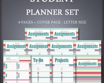 Printable Homeschool Planner Set - Class Assignments Planner Set - Daily Planner Set - School Planner Set - Student Planner Set