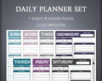 Printable Daily Planner Set - Weekly Planner Set - Cozy Sweater - Printable Planner Set