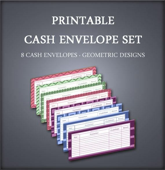 Printable Cash Envelope Set - Envelope Organizer - Cash Envelope Wallet - Geometrics - Petty Cash Envelopes - Budget Envelopes