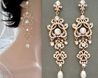 Gold chandelier earrings, Crystal statement earrings, Gold wedding earrings, Brides earrings - Gold crystal earrings,Bridal jewelry,ANGELINA