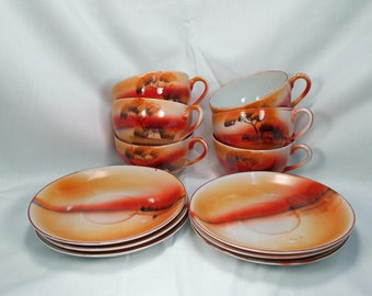 6 Matching Teacups and Saucers TRICO Nagoya Japan Oranges and Browns