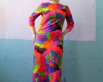 Vtg 60s Psychedelic Neon Maxi Dress / Vibrant / Bold Statement
