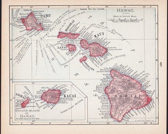 Small Hawaii Map of Hawaii State Map (Map Wall Decor Print, Old Vintage Wall Art, Color Atlas Map) Antique Map No. 189-2