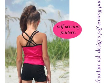 Training Wear Separates 4 crop singlet tank yoga shorts gymnastics dance crossover back straps