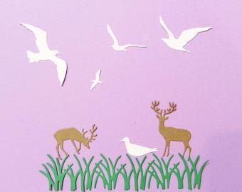 Deer, Grass, Doves, Die Cuts, Beach Scene, Up North Scene, Brown, White, Green, Cards, Scrapbooking, Handmade, Sizzix