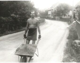 "Vintage Snapshot ""The Contractor"" Muscular Man Wheelbarrow Shirtless Man Work Gloves Found Vernacular Photo"