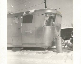 "Vintage Snapshot ""Snow Day"" Travel Trailer Little Boy Mobile Home Snow Found Vernacular Photo"