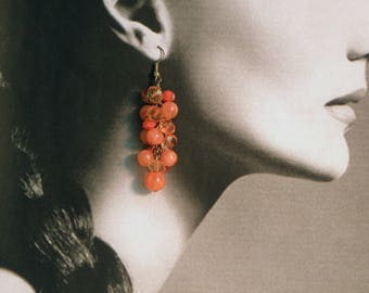 Vintage orange bead cluster drop earrings, 60 mm drop, glass and acrylic beads