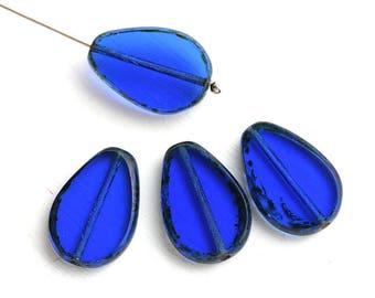 Cobalt Blue oval teardrop beads, Flat Drop, Dark Blue Picasso fire polished czech glass beads - 18x12mm - 1873