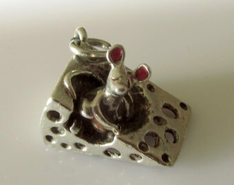 Silver Cheese and Mouse Enamel Charm