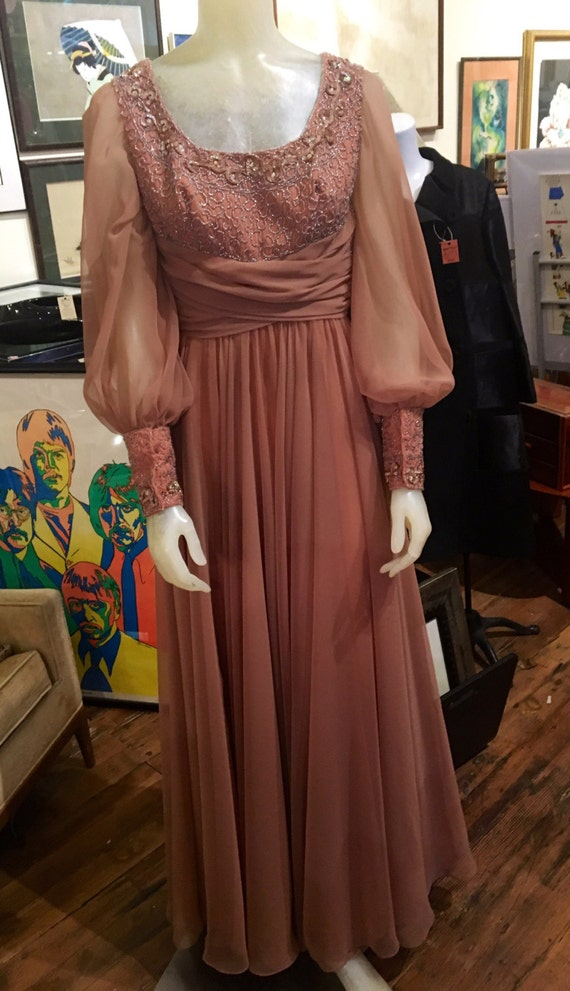 "Vintage 1970s Toffee Nude Chiffon Beaded Sequin Long Dress XS 24"" Waist by Mike Benet"