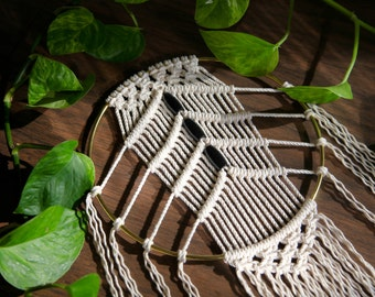 "Macrame Wall Hanging Dreamcatcher - 40"" Natural White Cotton w/ Beads 8"" Brass Ring - Boho Home, Nursery, Wedding Decor - Ready To Ship"