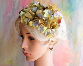 Fascinator with hydrangeas. Floral hat. Raceway. Teaparty. Millinery. Mother of the bride.