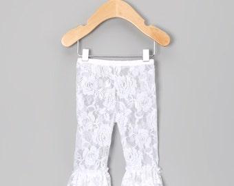 White Lace Ruffled Capris baby girl, toddler girl, baby clothes, baby clothing, kids clothes, girls clothes, girls clothing, wedding tights