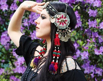 ON HOLD--------------Tribal Fusion Headdress- Magenta Gul Medallion, Cut Steel, Raw Ruby in Zoisite & Mauritanian Shell Bellydance Headpiece