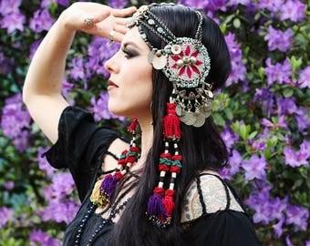 Tribal Fusion Headdress- Magenta Gul Medallion, Cut Steel, Raw Ruby in Zoisite & Mauritanian Shell Bellydance Headpiece