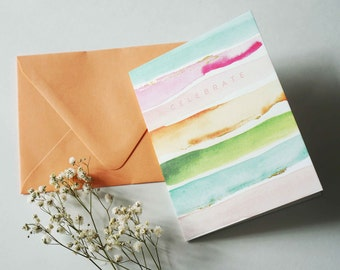 Celebrate, Watercolor Card, Colorful Blank Card, Gold-foil, A2 Size Card