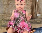 Parley Ray Baby Girls Hot Pink Camo Fabric Hair Bow Headband True Timber