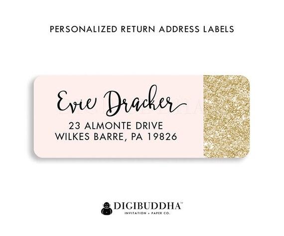 pink gold address labels modern return address labels blush pink