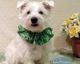 Shamrocks and Polka Dots St Patricks Day Dog Scrunchie Neck Ruffle, 14 inch neck