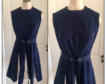 Vintage 1960s Misses' Sleeveless Navy Blue Polyester Knit Dress Pleated Skirt 6