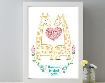 Personalised Christening Name and Date Gift Print, New Baby Gift, Personalised New Baby Christening Gift