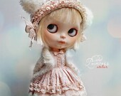 Blythe Helmet SWEET BEAR PEACH By Odd Princess Atelier, Hand Knitted Collection