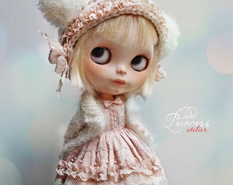 Blythe/Pullip Helmet SWEET BEAR PEACH By Odd Princess Atelier, Hand Knitted Collection