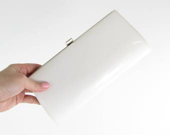 White Wedding Clutch Purse - Vintage 1960s Patent Evening Bag
