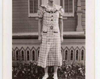 Woman Wearing Homemade Checkered Dress Fashionista Black And White Photo Fashion Photograph Fashionable Lady
