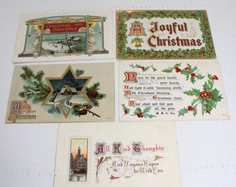 5 Antique Christmas Postcards 1910s