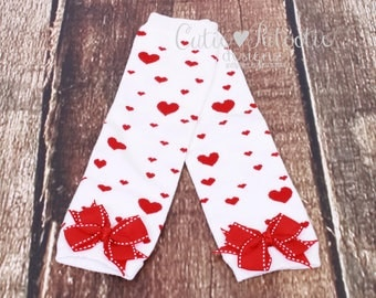 READY TO SHIP: Leg Warmers - White & Red - Heart Print with Red Bows - Valentine's Day Accessory - Cupid Cutie - One Size