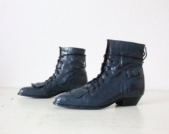 indigo lace ankle boots / 6.5