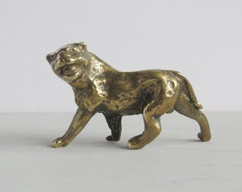 Solid Brass Tiger Puma Big Cat - Vintage Solid Brass Cat Figurine