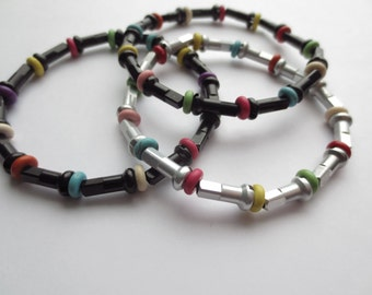 Recycled Bicycle Spoke Nipple and Candy Colored Bead Bracelets ,  Upcycled Bike Jewelry