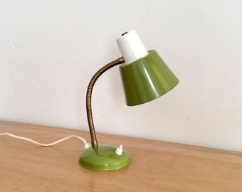 Dutch design Hala mid-century modern two-tone green and white gooseneck desk lamp or wall lamp.
