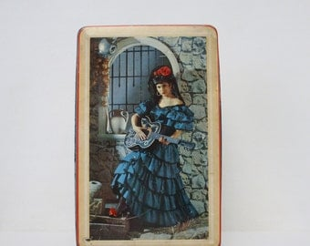 Vintage Candy Tin - Edward Sharp and Sons Toffee Tin - Made in England Flamenco Guitar Graphic Candy Tin
