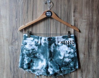 High waist vintage denim shorts Size 2| Ripped distressed shorts | Tie dye studded shorts | Silver pyramid studded | Festival boho shorts |