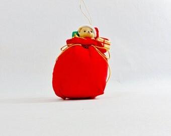 1980s, Christmas, Christmas Decoration, Christmas Gifts, Vintage Christmas, Christmas Ideas, Old Christmas, Felt Animals, Felt Bear, Xmas