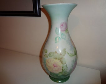 "Vintage Hand Painted Roses on A Vase in Very Good Condition, signed by The Artist ""To Vi, D. Lane"" in a soft  pretty pastel color palette"