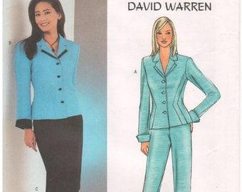 2003 - Butterick 3918 Sewing Pattern Sizes 12/14/16 David Warren Jacket Skirt Pants Suit Fitted Princess Seams Lined Uncut