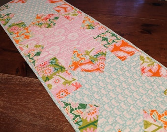 Handmade Quilted Table Runner, Floral, Butterfly, Table Topper, Pink, Orange, Aqua, Green, Table Decor, Heather Bailey Fabric, Modern Decor