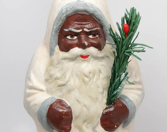 1950's 10 Inch German Belsnickle Black Santa with Feather Christmas Tree, Candy Container