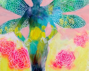 "Small Abstract Figure Painting, Fairy, Angel, Spirit Abstract Floral, ""Dragonfly Spirit"" 8x10"""