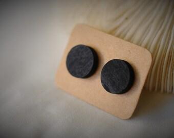 WOOD Stud Earring, BLACK Earring,  Black ROUND Wood On Stud Earring ~ 12 mm - Unisex / Casual / Minimalist