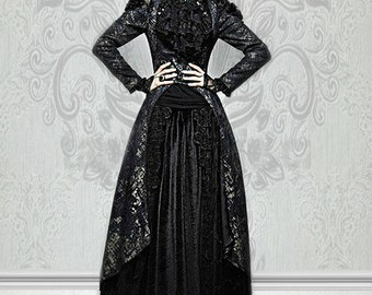 Gothic Black and Matt Golden Printing Coat with Long Tail  gothic coat granny chic