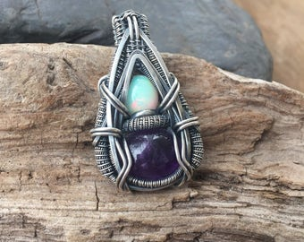 Wire Wrapped Pendant - Heady Wire Wrap - Wire Wrap - Opal Pendant - Wire Wrap Pendant - Sweet Water Silver - Amethyst Wire Wrap