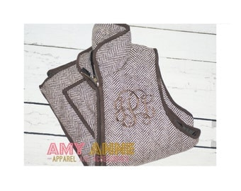 Brown Herringbone Monogrammed Quilted Vest Personalized Puff Vest Cold Weather Preppy Women's S, M, L, XL Chocolate Brown
