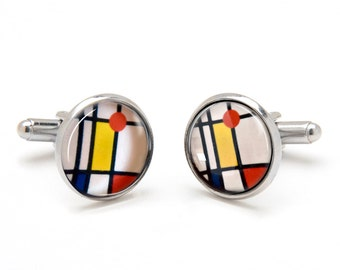 Father's Day Gift - Mondrian Cufflinks - Pattern Cufflinks - Abstract Cufflinks - Cool Gifts for Men - Stained Glass Cufflinks