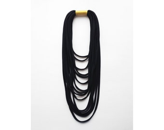 Layered necklace - the funky layered necklace - handmade in golden fabric